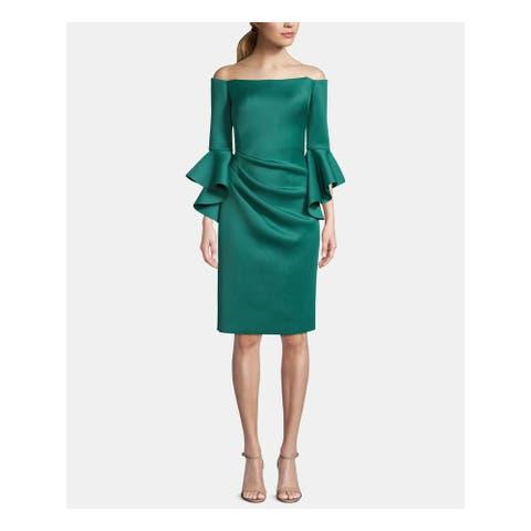 BETSY & ADAM Green Bell Sleeve Knee Length Sheath Dress Size 12