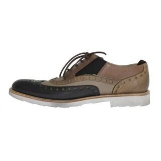 Dolce & Gabbana Beige Black Leather Wingtip Shoes - eu44-us11
