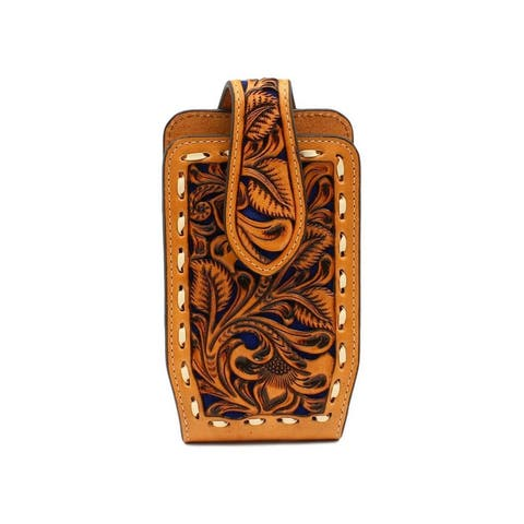 Nocona Western Cell Phone Case Underlay Laced Swivel Natural