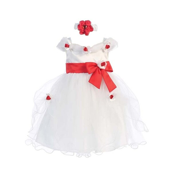 f548b1de920f Shop Baby Girls White Red Flower Bow Tulle Neckband Easter Flower Girl Dress  6-24M - 12 Months - Free Shipping On Orders Over $45 - Overstock - 18164040