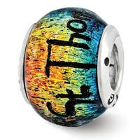 Sterling Silver Reflections St Thomas Orange Dichroic Glass Bead (4mm Diameter Hole)