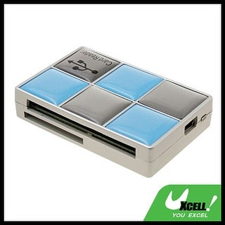 USB 2.0 All in 1 Checker Memory Card Reader Writer Blue