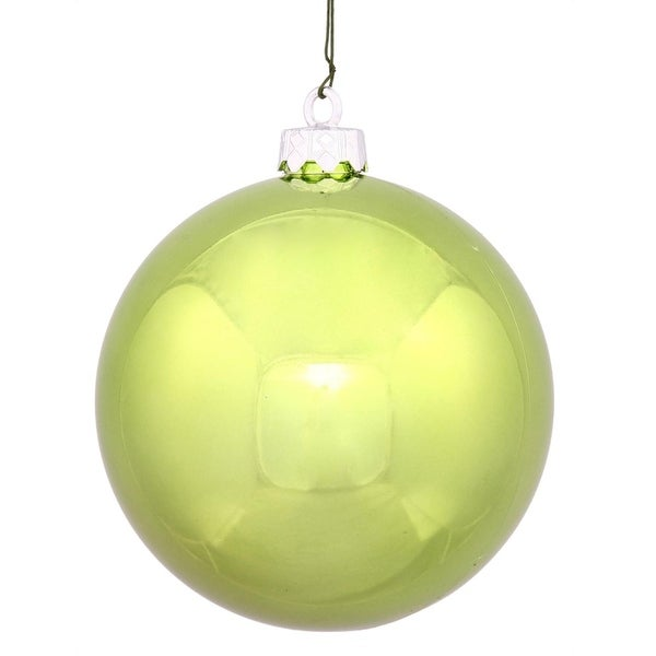 "Shiny Lime Green UV Resistant Commercial Shatterproof Christmas Ball Ornament 4"" (100mm)"