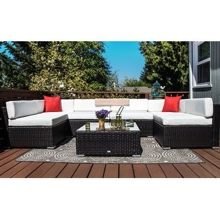 Outsunny 7-Piece Outdoor Patio Furniture Set with Dark Brown Rattan Wicker Perfect for Garden, Deck, and Backyard White