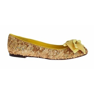 Dolce & Gabbana Yellow Sequined Silk Loafers Flat Shoes - 39