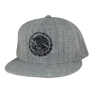 Mexico Seal Flag Flat Bill Snapback Hat Cap by Caprobot - Heather Grey Black