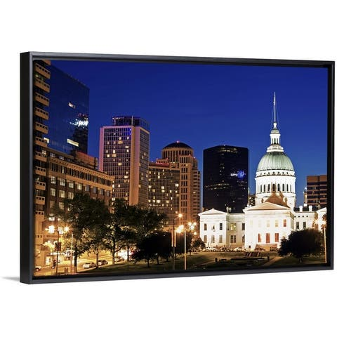 """USA, Missouri, St Louis, Old courthouse illuminated at night"" Black Float Frame Canvas Art"