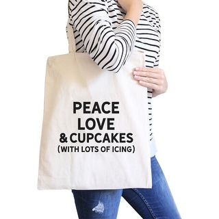 Peace Love Cupcakes Natural Canvas Bag Birthday Gift Tote Bags - White