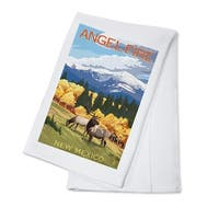 Angel Fire, NM - Elk & Mountains - LP Artwork (100% Cotton Towel Absorbent)