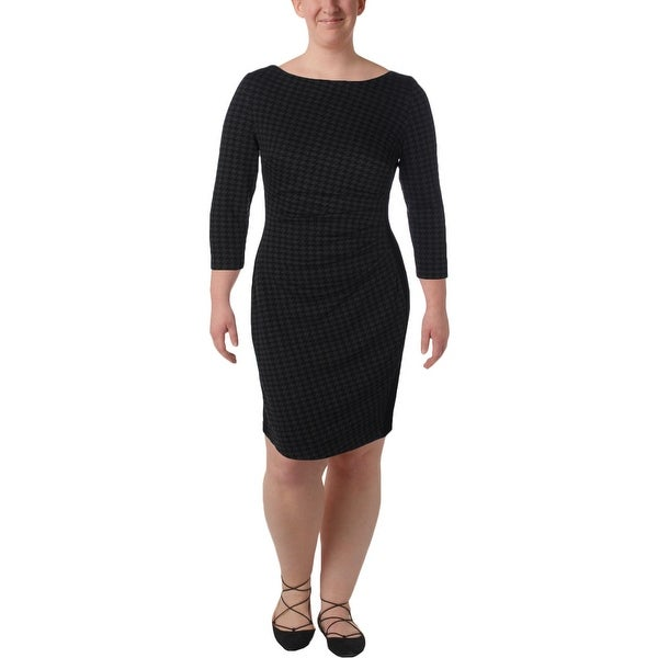 02338894 Lauren Ralph Lauren Womens Novinda Wear to Work Dress Ponte Houndstooth