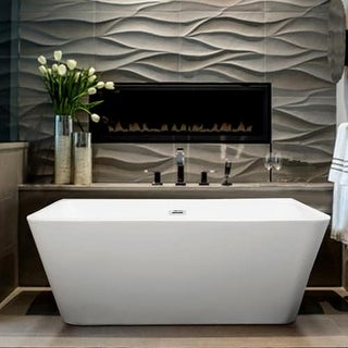 """Miseno MT6729FSR 67"""" Back-to-Wall Acrylic Soaking Tub with Rear Drain, Drain Assembly, and Overflow"""