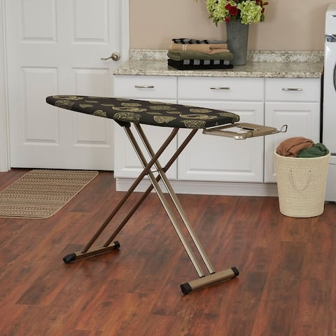 """Household Essentials Ironing Board-Steel top 18.5""""x51"""" Gold and Black Painted 4 leg with Wheels, Gold and Black Pattern Cover"""