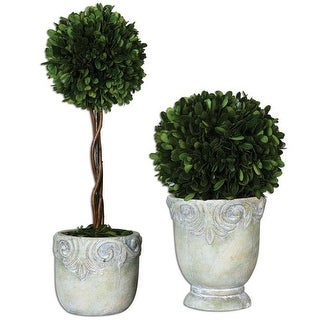 Uttermost 60112 Preserved Boxwood Ball Ceramic Topiaries with Natural Foliage, Set of Two - stone ceramic