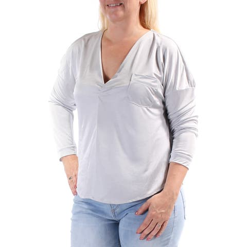 KIIND OF Womens Silver 3/4 Sleeve V Neck Top Size: L