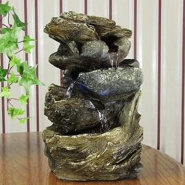 Sunnydaze Tiered Rock and Log Tabletop Fountain with LED Lights, 10.5 Inch Tall