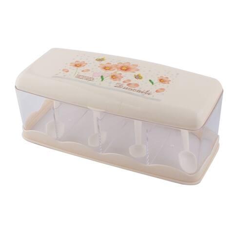 Plastic Flower Print 4 Slots Spices Condiment Container Dispenser Case Beige