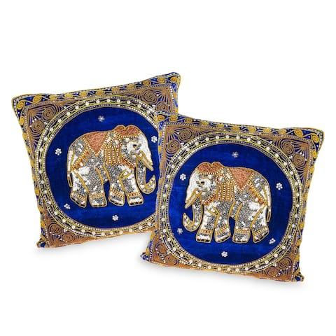 Handmade Royal Thai Elephant Embroidered Velvet Throw Pillow Cases (Set of 2) (Thailand)