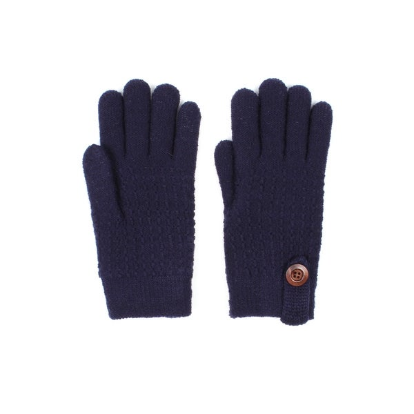 Mens Textured Dash Knit Winter Gloves Lined