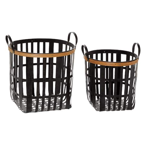 """Black Metal And Natural Wood Basket With Handles Set Of 2 17"""" 20"""" - 17 x 16 x 20"""