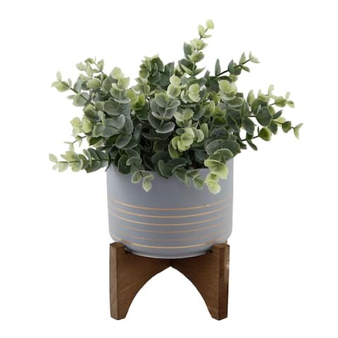 "Artificial Plant Eucalyptus in 4.75"" Ceramic Pot on Wood Stand - ONE-SIZE"