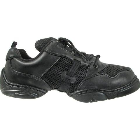 Black Leather Mesh Upper Split Rubber Sole Dance Jazz Sneakers 412 Womens - 5