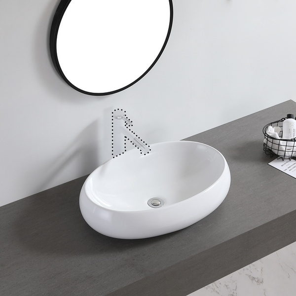 """Ceramic Basin Above Counter Basin Curved Oval White - 7'6"""" x 9'6"""". Opens flyout."""