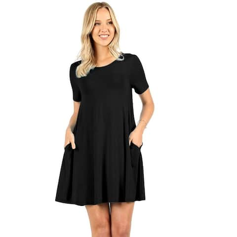 Womens Short Sleeve Loose Fit Flared Tunic Top
