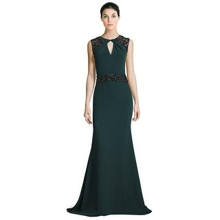 Pamella by Pamella Roland Beaded Crepe Mermaid Evening Gown Dress - 2