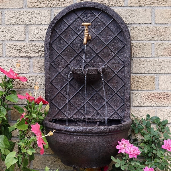 Sunnydaze Messina Hanging Outdoor Wall Water Fountain with Iron Finish - 26-Inch - Bronze