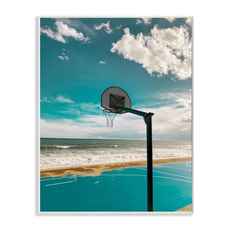 Stupell Industries Vibrant Blue Basketball Hoop Coastal Beach Court Wood Wall Art