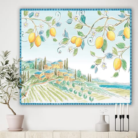 Designart 'Mediterranean Village Field I' Traditional Gallery-wrapped Canvas - Green