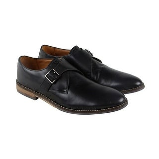 Hush Puppies Gaston Style Mens Black Leather Casual Dress Strap Oxfords Shoes