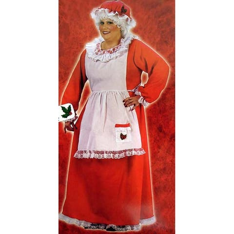 Red and White Plush Mrs. Santa Claus Women Adult Christmas Costume - Plus Size - N/A