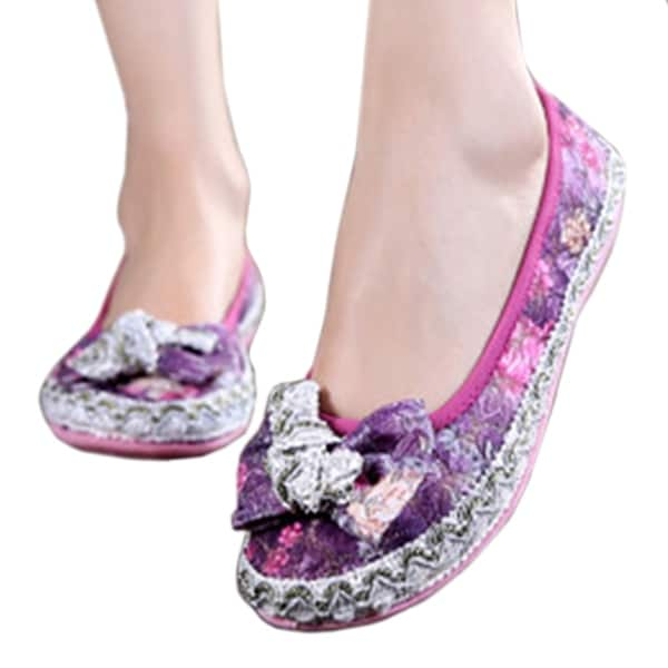 Mesh Breathable Cloth Shoes Soft Sole purple 35