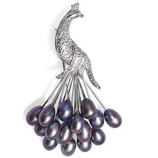 Bling Jewelry Clustered Black Freshwater Cultured Pearl Peacock Brooch Rhodium Plated