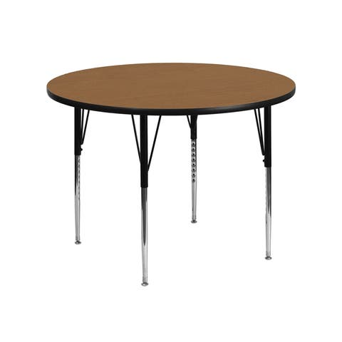 Offex 42'' Round Activity Table with Oak Thermal Fused Laminate Top and Standard Height Adjustable Legs - N/A