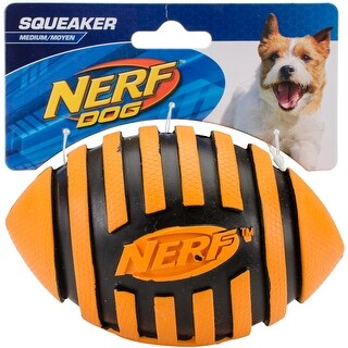 Nerf Dog Spiral Squeak Rubber Football Dog Toy, Medium/Large, Orange