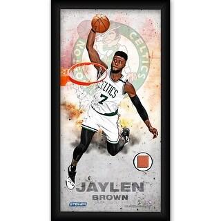 Jaylen Brown Boston Celtics Player Profile Framed 10x20 Photo Collage wGame Used Basketball