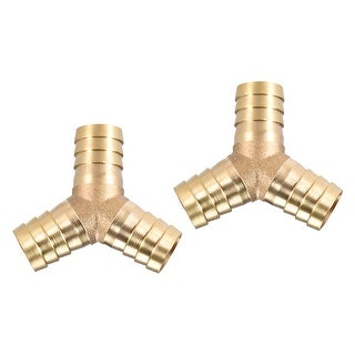 "5/8"" Brass Barb Hose Fitting Tee Y-Shaped 3 Ways Connector Adapter Joiner 2pcs - 16mm 2pcs"