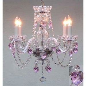 Crystal Swag Plug Chandelier Lighting With Pink Crystal*Hearts*H17 x W17
