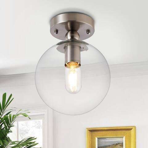 GetLedel 1-Light 7.9-inch Glass Globe Semi Flush Mount