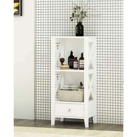 Spirich 3-Shelf X Frame Freestanding Bathroom Storage with Single Drawers, Free Standing Bathroom Floor Cabinet Shelves