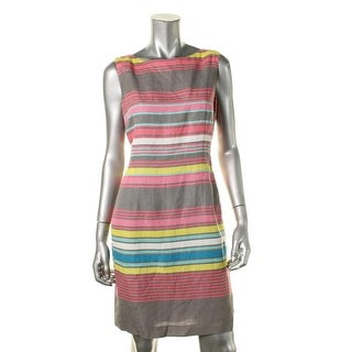 Tahari ASL Womens Rick Linen Striped Wear to Work Dress - 6