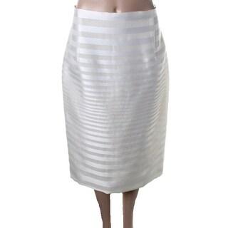 J. Mendel Womens Linear Organza High-Waisted Pencil Skirt - 10