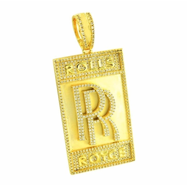 Mens Designer Charm Luxury Car Logo Pendant 14K Gold Finish Over Sterling Silver Simulated Diamonds