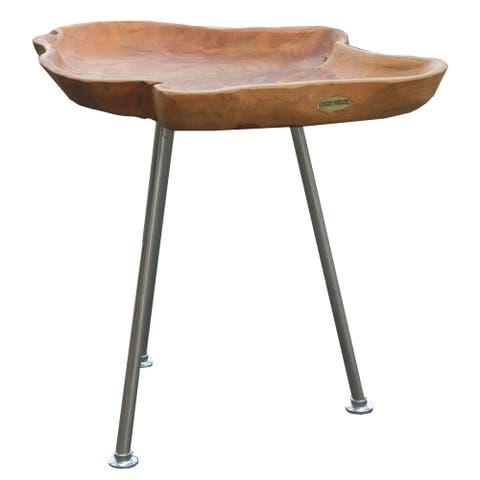 Chic Teak Rustic Teak Wood Tray Side Table