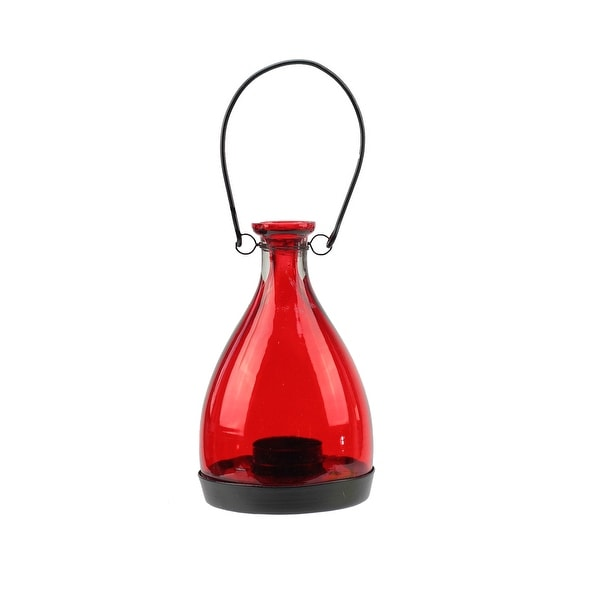 "6.25"" Transparent Red Glass Bottle Tea Light Candle Lantern Decoration"