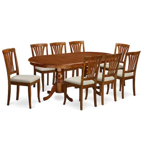 PLAV9-SBR 9 Pc Dining room set-Dining Table with 8 Dining Chairs