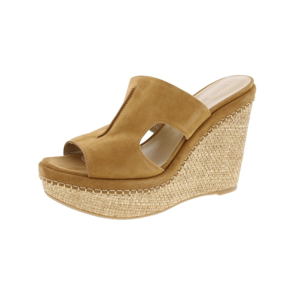 Stuart Weitzman Womens Ponte Wedge Sandals Suede Open Toe
