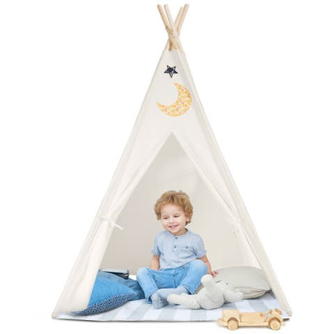 Gymax 5'5 Indian Play Tent Teepee Children Playhouse Sleeping Dome Portable Carry Bag